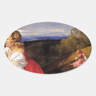 Titian著人の3つの年齢 卵型シール