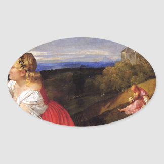 Titian著人の3つの年齢 楕円形シール