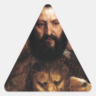 Titian著慎重さによって支配される時間のアレゴリー 三角形シールステッカー