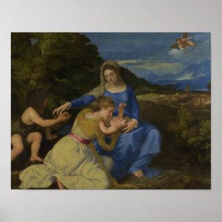 Titian -乳児を持つヴァージンそして子供 ポスター