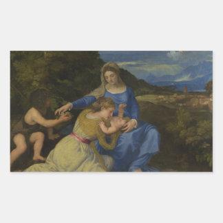 Titian -乳児を持つヴァージンそして子供 長方形シール