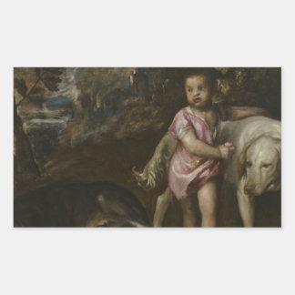 Titian -景色の犬を持つ男の子 長方形シール