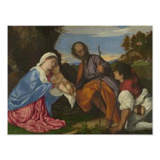 Titian -羊飼いを持つ神聖な家族 フォトプリント