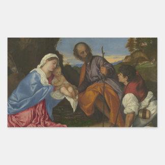 Titian -羊飼いを持つ神聖な家族 長方形シール