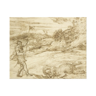 Titian - St.セオドアの克服の景色 キャンバスプリント