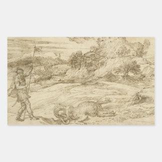 Titian - St.セオドアの克服の景色 長方形シール