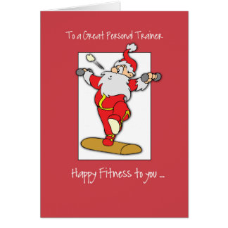 To Personal Trainer Fitness Exercise Christmas wit カード