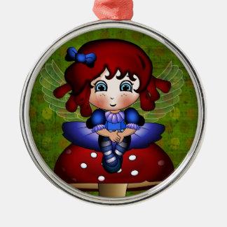 toadstoolのBluebellの妖精のモデル シルバーカラー丸型オーナメント