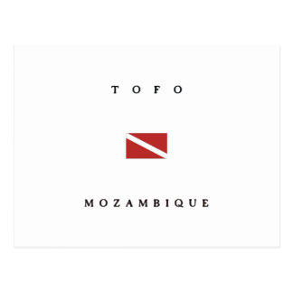 Tofoモザンビークのスキューバ飛び込みの旗 ポストカード