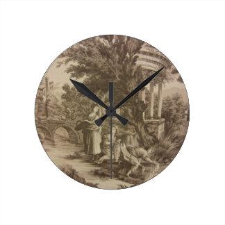 Toile -川の洗浄日 ラウンド壁時計
