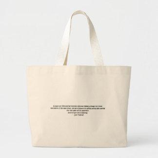 Tolstoyの菜食主義の引用文 ラージトートバッグ