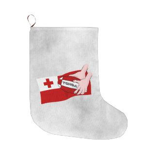Tongan旗のラグビーのチームサポータ ラージクリスマスストッキング