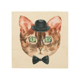 Top Hat Cat Wall Art ウッドウォールアート