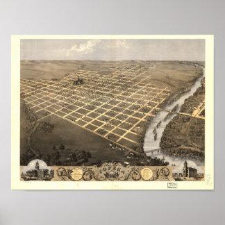 Topekaカンザス1869のパノラマ式の地図 ポスター