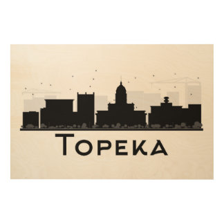 Topeka、カンザス|の黒く及び白い都市スカイライン ウッドウォールアート