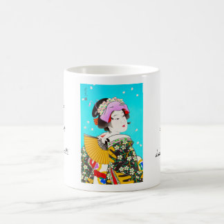 Torii Kiyomitsuの月の花の日本のな女性ポートレート コーヒーマグカップ