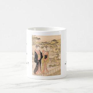 Torii Kiyonaga庭の日本人の芸術の2人の女性 コーヒーマグカップ
