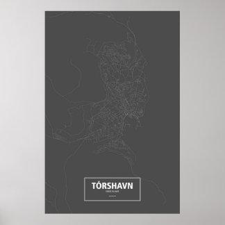 Tórshavn、フェロー諸島(黒で白い) ポスター