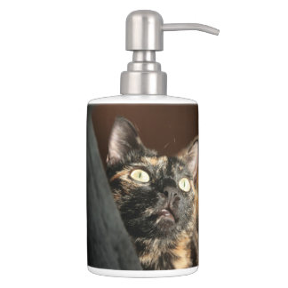 tortie cat soap dispender & tooth brush holder バスセット