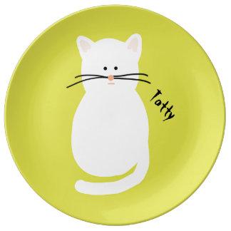 Totty猫。 白い猫の芸術のプレート 磁器プレート