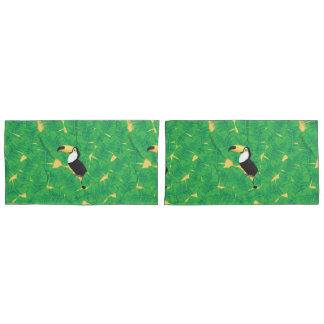 Toucanおよびバナナの葉 枕カバー