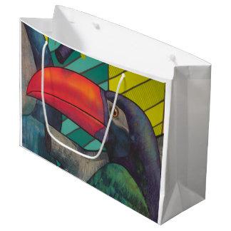 Toucanのカラフルな落書き ラージペーパーバッグ