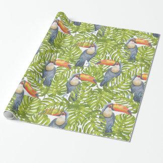 Toucanのジャングルの鳥の木はパターンを去ります ラッピングペーパー