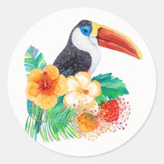 Toucanの熱帯水彩画 ラウンドシール