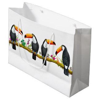 Toucanの熱帯鳥の大きいギフトバッグ ラージペーパーバッグ