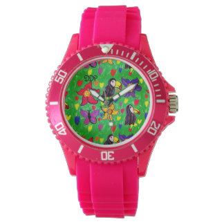 Toucanの花の蝶 腕時計