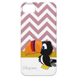 Toucan挨りだらけのばら色のシェブロンのiPhone 5やっとそこに iPhone 5 Cover