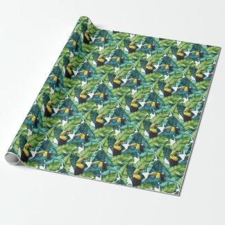 Toucansの熱帯バナナはパターンを去ります ラッピングペーパー