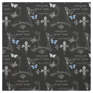 Toujoursパリの蝶コラージュの生地 ファブリック