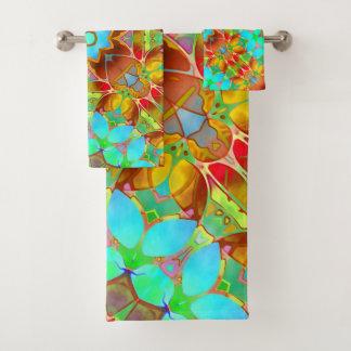 Towel Set Floral Fractal Art G410 バスタオルセット