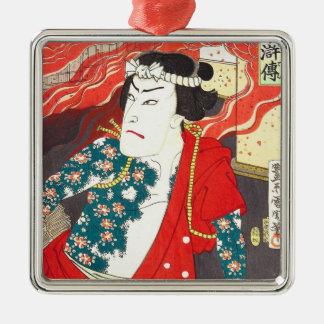 Toyohara Kunichika: Kabuki -入れ墨された消防士 メタルオーナメント
