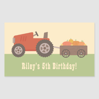 Tractor Pumpkin Kids Birthday Party Favor Stickers 長方形シール