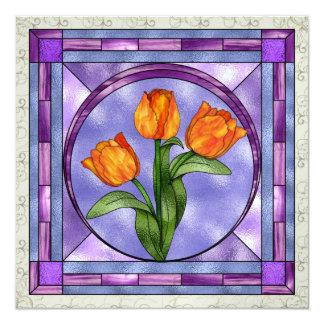 Tracyのステンドグラスの花- SRF カード
