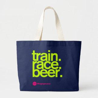 TRAIN.RACE.BEER. 競争のトートバック ラージトートバッグ