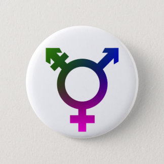 Trans*の記号のピンクか青または緑 5.7cm 丸型バッジ