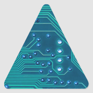 TRANSHUMANISM: 抽象的で青い回路パターン 三角形シール