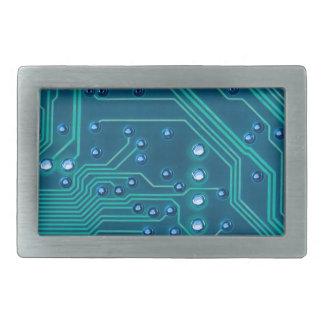 TRANSHUMANISM: 抽象的で青い回路パターン 長方形ベルトバックル