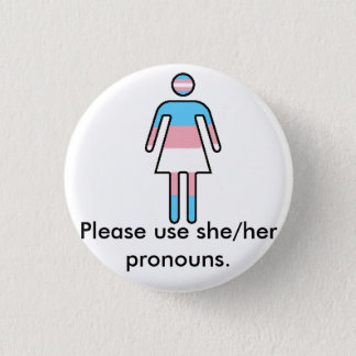 Transwomanのプライドまたは代名詞ボタン 3.2cm 丸型バッジ