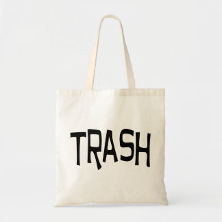 Trash print black トートバッグ