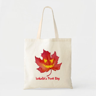 Treat Bag Customizable Fall Leaf Face トートバッグ