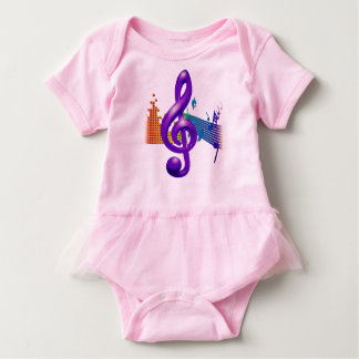 Treble Clef Purple Elegant Design ベビーボディスーツ