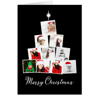 Tree and Star Personalized Christmas カード