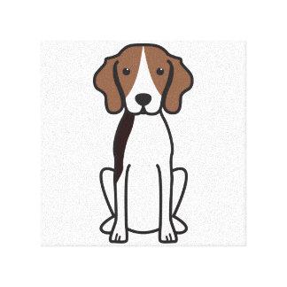Treeingの歩行者のCoonhound犬の漫画 キャンバスプリント