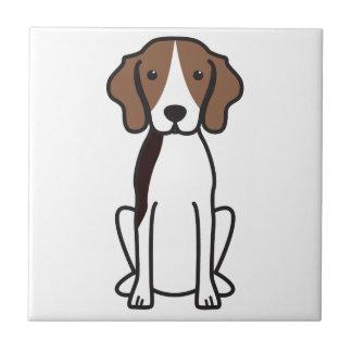 Treeingの歩行者のCoonhound犬の漫画 タイル