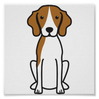 Treeingの歩行者のCoonhound犬の漫画 ポスター