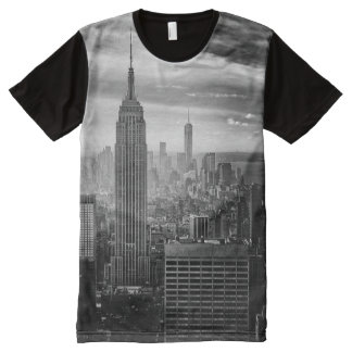 Trendy Black and white New York Shirt オールオーバープリントT シャツ